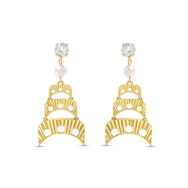 Joe Wall 1911 Trigger gold, diamond, and pearl earrings