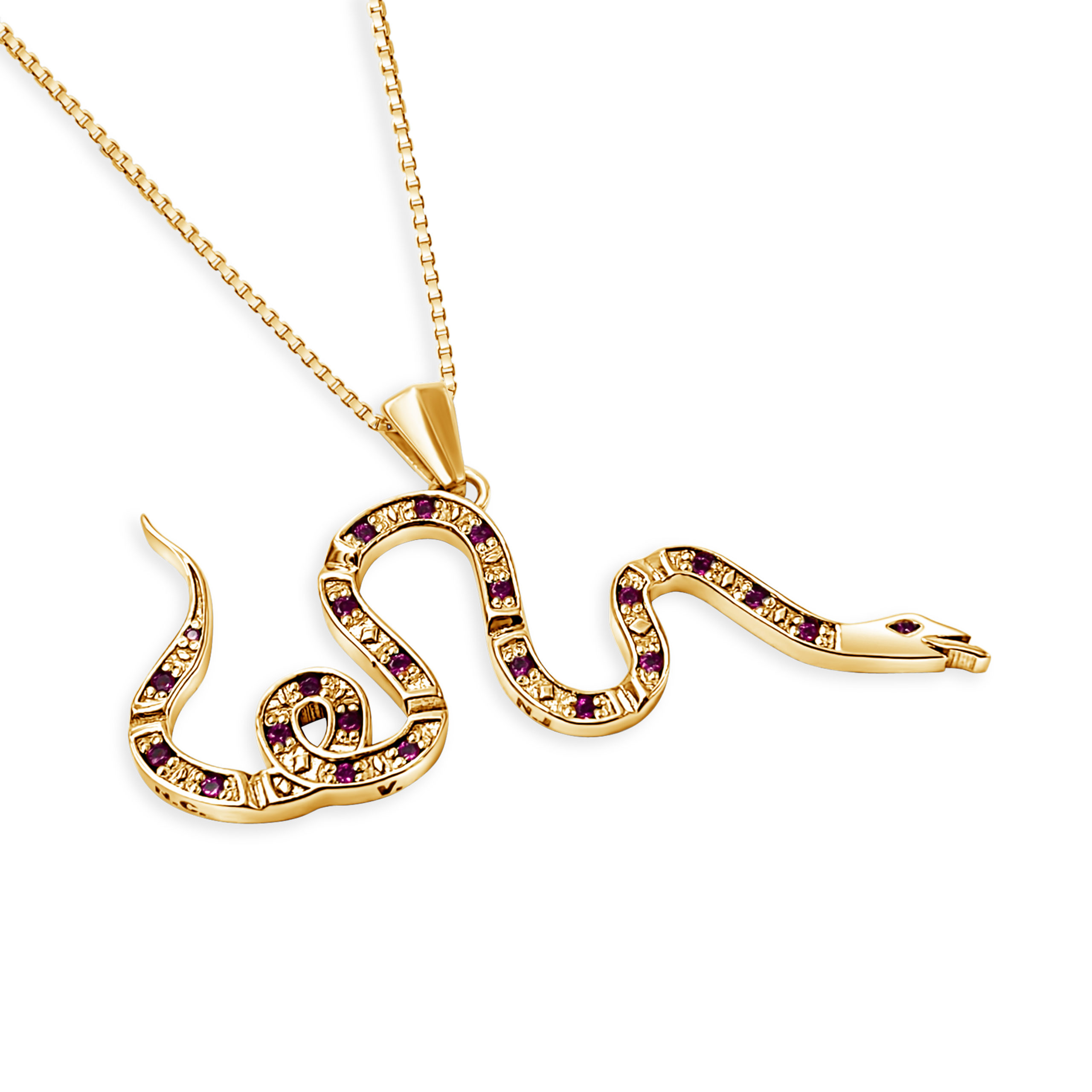 14K Gold Joe Wall Join or Die Snake Red
